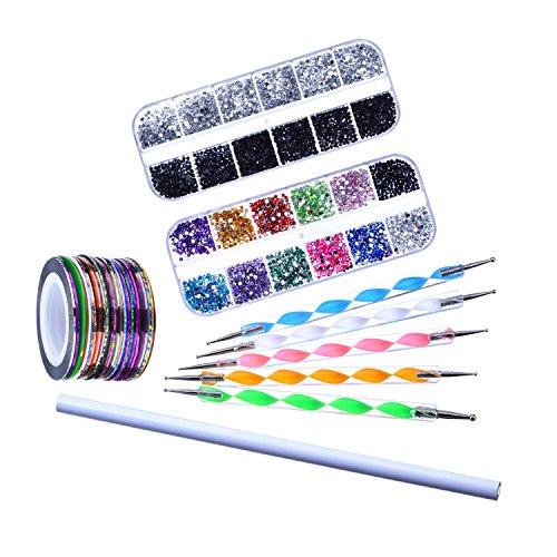 Small Rhinestone Kit - eBoot Nail Art Kit Decoration Set with Picker Pencil, 2 Boxes Nail Rhinestones, 5 Dotting Pens, 30 Nail Striping Tape