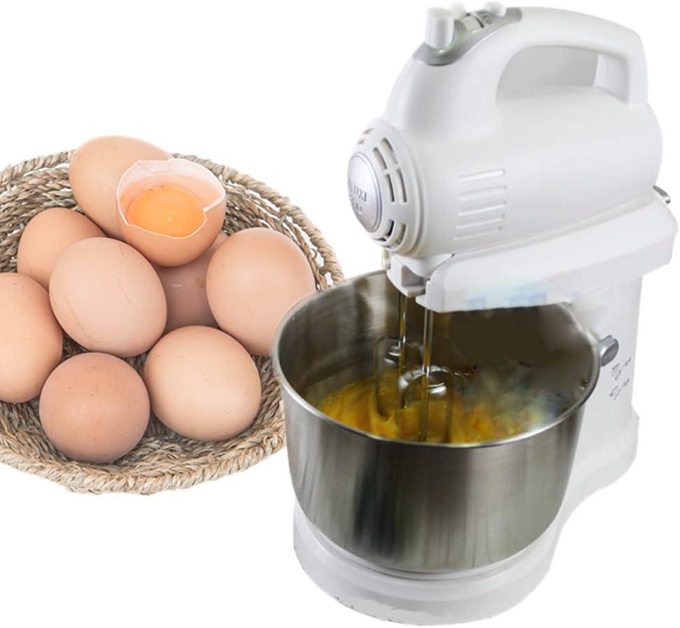 Youyababay Alimentos Batidora de pie, Mini batidora de pie, el batidor de Huevos Que sacude su Cabeza, de 3 l, con 5 velocidades, con un batidor, Gancho amasador y baten, Blanco: Amazon.es