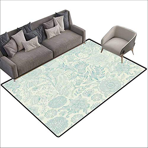 Bathroom Rug Kitchen Carpet Blue and Green,Antique Ornamental Motifs Inspired by Lively Summer Season Nature,Pale Green and Blue 48