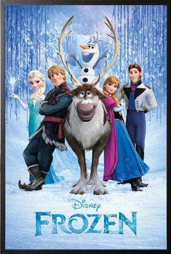 Framed Frozen - Cast 24x36 Wood Framed Poster Disney Movie Art Print