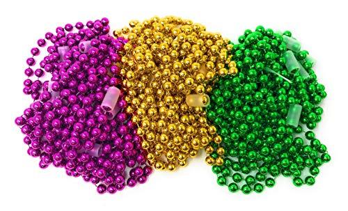 Bulk 24 Pack 10mm Large Mardi Gras Bead Necklace Assortment]()