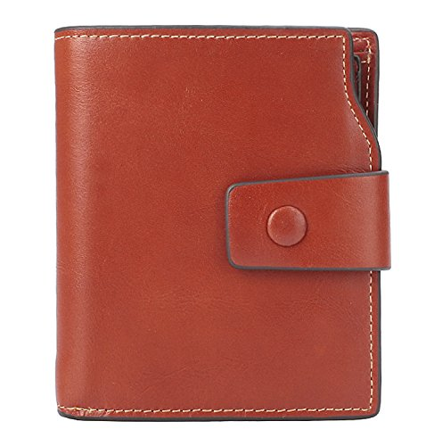 BIG SALE-AINIMOER Women's RFID Blocking Leather Small Compact Bi-fold Zipper Pocket Wallet Card Case Purse (Waxed Sorrel)