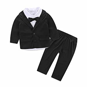 HANYI Outfits Baby Boy Gentleman Suit (6M, Black)
