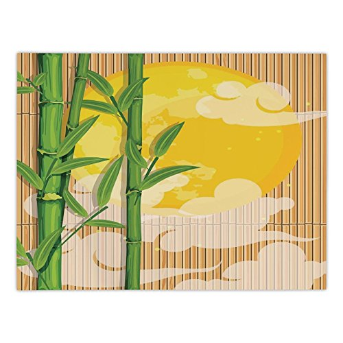 Polyester Rectangular Tablecloth,Asian,Bamboo Tree Branches Full Moon and Abstract Curvy Clouds Stars Eastern,Yellow Green Light Brown,Dining Room Kitchen Picnic Table Cloth Cover,for Outdoor Indoor ()