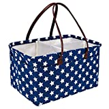 DOKEHOM DKA0641BSXL X-Large Baby Diaper Caddy Organizer with Leather Handle, Multifunctional Nappy Storage Nursery Bin Basket with Removable Compartments (Blue Star, XL)