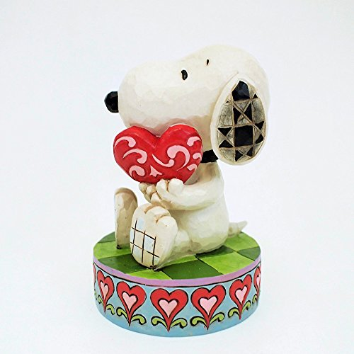 Peanuts by Jim Shore Snoopy Holding Heart Stone Resin Figurine, 4.25