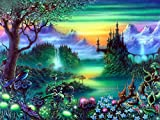 JCBABA DIY 5D Diamond Painting, Crystal Rhinestone Full Diamond Embroidery Pictures Arts Craft for Home Wall Decor Magic Forest 11.8 x 15.7