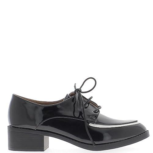 ChaussMoi Sostenido de Cordones de Mocasines Mujer Negro con Ribete Blanco Clavo: Amazon.es: Zapatos y complementos