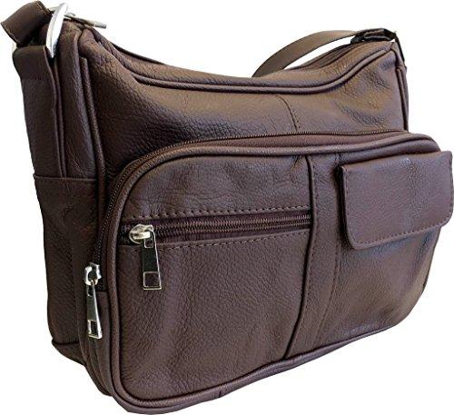 Leather Pocketbook - Women's Genuine Leather Cross Body Shoulder Strap Organizer Purse, Brown