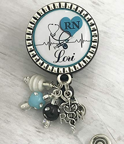Personalized Nurse RN ID Badge Reel, retractable Name Badge, Same Day SHIPPING, blue heart Nurse Gift, LPN BSN Custom RN ID holder, Nursing ()