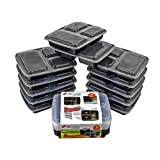Xland Canada 3 Compartment Food Container 32 oz Plastic Bento Boxes, Black / 100 % Food Grade PP (10)
