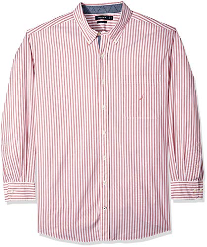 Woven Stripe Shirt Vertical (Nautica Men's Big and Tall Classic Fit Long Sleeve Vertical Stripe Button Down Shirt, Coral Cape 3XLT)