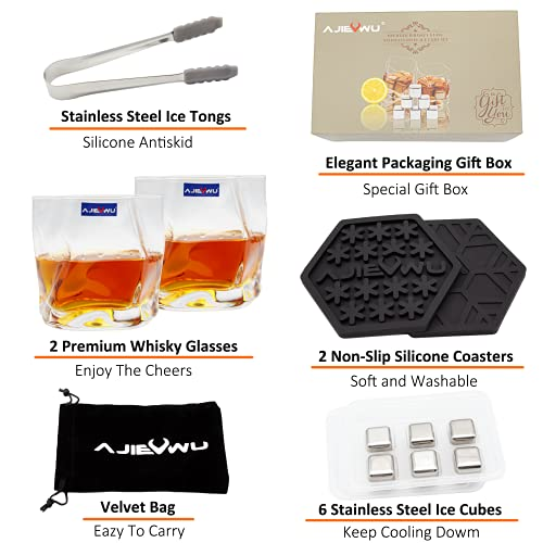 Whiskey Stones Gift Set, Whiskey Chilling Stones for Men, Whiskey Rocks Ice Cubes with 2 Whiskey Glasses and 6 Stainless Steel Ice Cubes Present for Men, Boyfriend, Anniversary, Retirement (Silver)