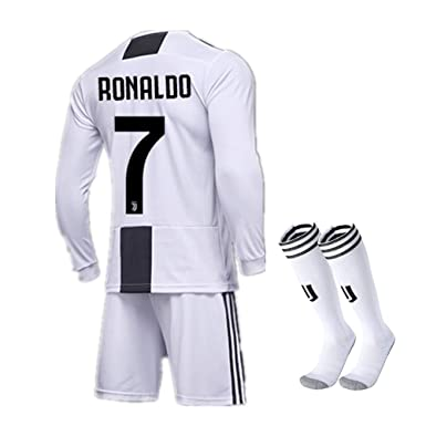 official photos c8228 8b327 Amazon.com: Season 18/19 Juventus #7 Ronaldo Home Kids/Youth ...