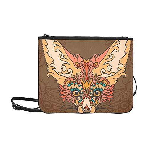 Fox Fenech Beautiful Print Tattoo Design Custom High-grade Nylon Slim Clutch Bag Cross-body Bag Shoulder Bag