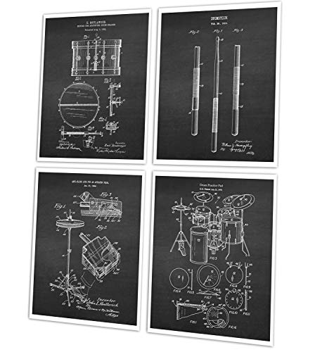 Gnosis Picture Archive Drum Posters Set of 4 Unframed Drum Art Prints Drummer Gifts Patents_Drumming_Chk4B ()