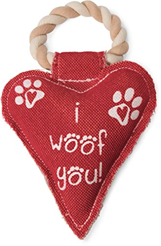 Pavilion Gift Company 45610 Pavilion's Pets - Red Heart Shaped Canvas and Rope Dog Squeaky Toy - I Woof You! You