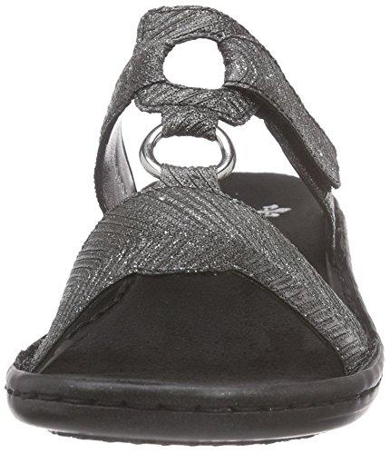 Rieker 608a0 - Mules Mujer Negro (Schwarz-silber / 00)