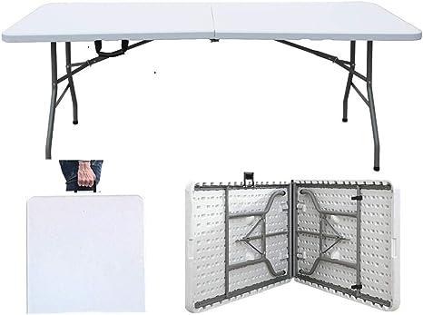 sogesfurniture Mesa Plegable Portátil, Mesa de Plástico Resistente, Ideal para Camping, jardín, Picnic, Cocina, terraza, 180x74x74cm, HP-180CZ-BH