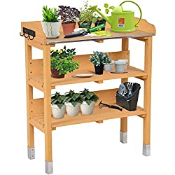 Giantex 3 Tier Wooden Potting Bench Garden Planting Workstation Shelves W/3 Hooks(Tawny 3 Tier)
