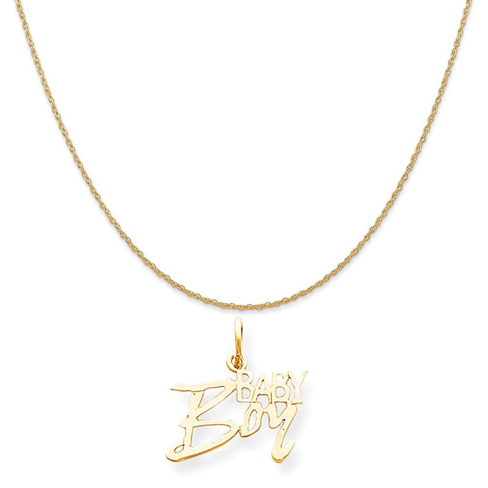 5ea1694b0 Amazon.com: Mireval 10k Yellow Gold Baby Boy Charm on a 14K Yellow Gold  Rope Chain Necklace, 16