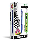 ZEBRA PEN 22220 Zebra Z-Grip Retractable Ballpoint Pen, Medium Point, 1.0 mm, Clear Barrel, Blue Ink, 12-Count