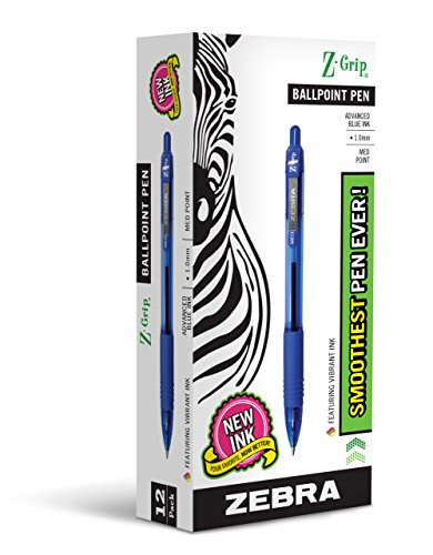 Zebra Pen Z-Grip Retractable Ballpoint Pen, Medium Point, 1.0mm, Blue Ink, 12-Count