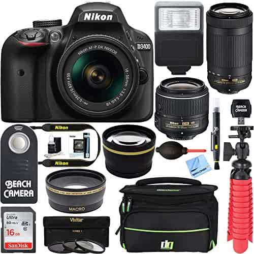Nikon D3400 24.2MP DSLR Camera with AF-P 18-55 VR and 70-300m Lenses (1573B) - furbished) (18-55 VR and 70(Renewed)