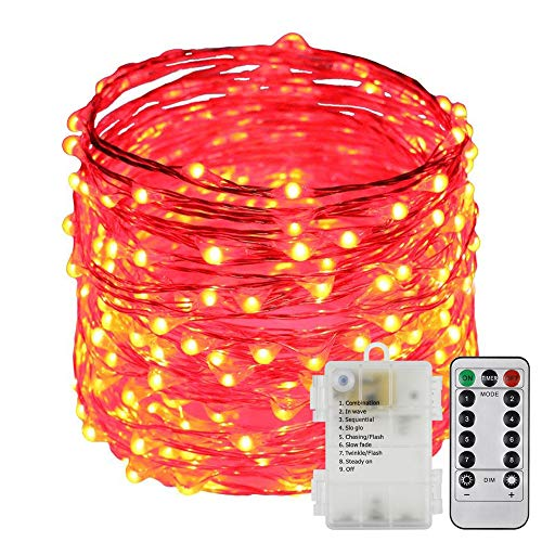ErChen Battery Operated 40 FT 240 Led Fairy Lights, Remote Control 8 Modes Dimmable Waterproof Copper Wire LED String Lights with Timer for Indoor Outdoor Garden Patio Christmas (Red)