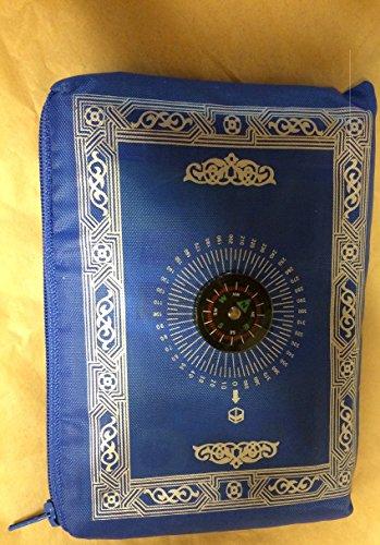 POCKET PRAYER MAT WITH COMPASS/PORTABLE MUSLIM PRAYER MAT / QIBLA / WEIGHTED ENDS