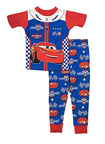Disney Cars 3 Little Boys Toddler Cotton Pajama Set (3T, Blue) - Cars
