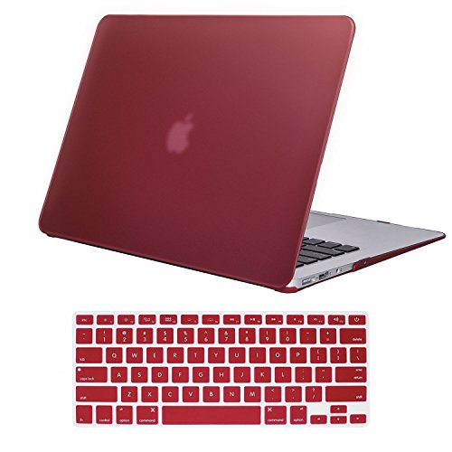 Coated Case (iCasso Macbook Pro 13 Retina Case Rubber Coated Hard Shell Protective Cover For Macbook Pro 13 Inch Retina (No CD-ROM )Model A1425/A1502 (2012-2015 Version )With Keyboard Cover (Wine Red))