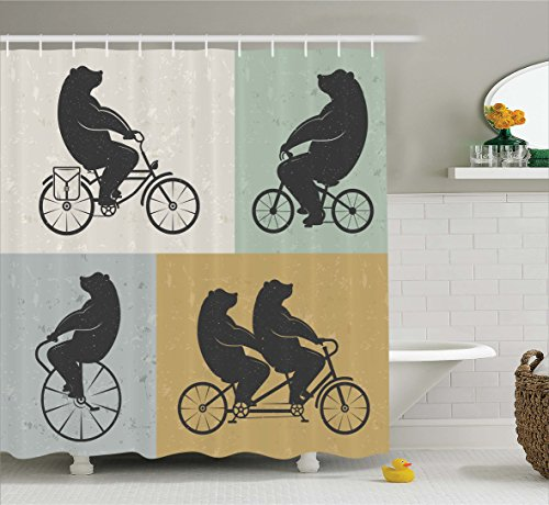 Ambesonne Vintage Decor Shower Curtain by, Big Cute Bear on a Bike Bicycle Cycling Hipster Circus Life Outdoor Animal Enjoy, Fabric Bathroom Decor Set with Hooks, 70 Inches, Multi