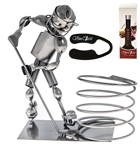 Fabulous Hockey Star Player Wine Bottle Holder Plus a Wine Foil Cutter and a Wine Bottle Vacuum Stopper