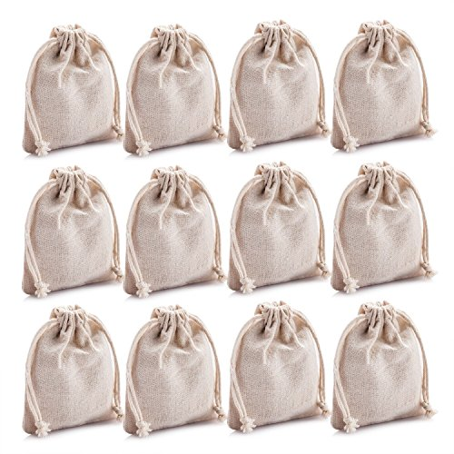 MIAOMIAO [set of 12] reusable cotton double drawstring Bags, Machine Washable gift bags, 4.5 X 3.8 Natural Linen Pouches for Gift Packaging (white)