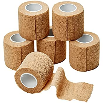 MEDca Self Adherent Cohesive Wrap Bandages 2 Inches X 5 Yards 6 Count, FDA Approved (Skin Color)