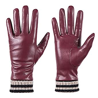 Womens Winter Leather Touchscreen Texting Warm Driving