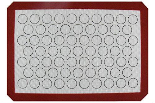 Homankit Non-stick Silicone Baking Mat Purplish Red Border for Macaron with Reusable White Surface 11.6 X 16.5 Inches