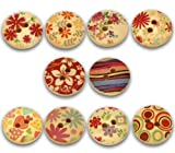 Beautiful Painted Wood Buttons with Colorful Designs 15mm - 50 Buttons Per Package with Exclusive Shizaru Designs Gift Bag