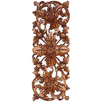 balinese traditional lotus flower carved wood panel bali wall art