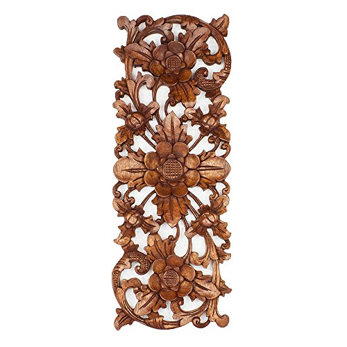 Balinese Traditional Lotus Flower Carved Wood Panel Bali Wall Art Architecturalor (Bali Wood Art)