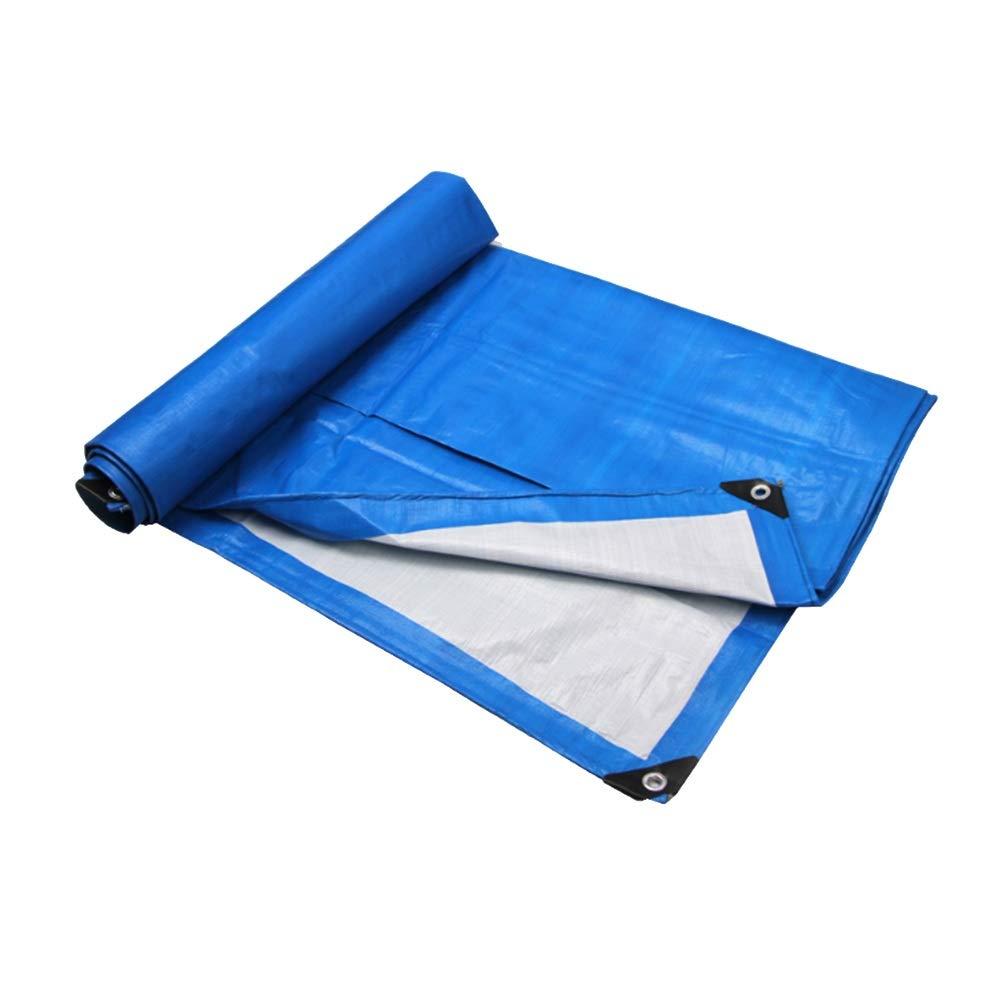 Schutzplane PE-Plane, Regenfestes Tuch Kunststoff Tuch Wasserdichte Plane Verdickte Schatten Plane Poncho Canvas Truck Baldachin Plane (Blau Weiß)