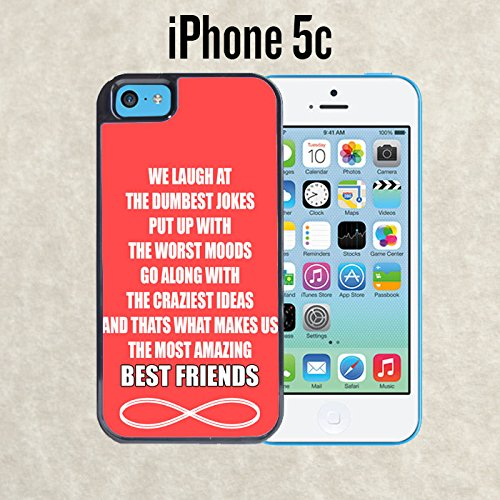 iPhone Case Amazing Best Friends Quote for iPhone 5c Black 2 in 1 Heavy Duty (Ships from CA) With Free .33 mm Premium Tempered Glass Screen Protector