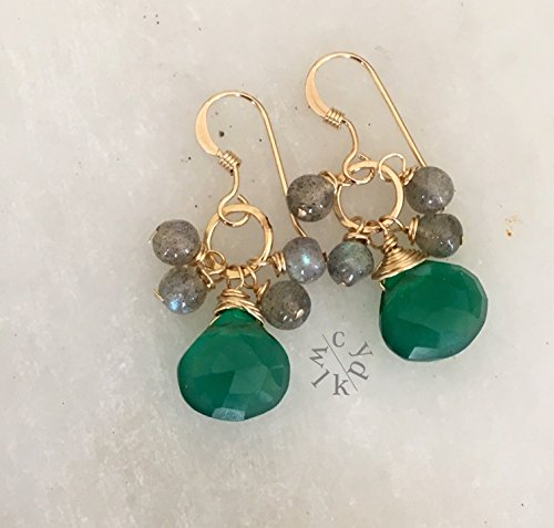 - Gemstone Cluster Earrings with Green Onyx and Labradorite Beads in 14k Gold Filled