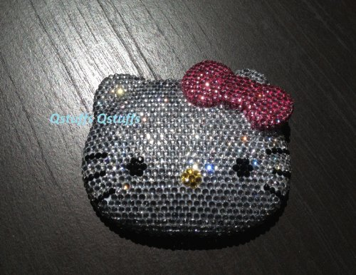 Hello Kitty compact Mirror handcrafted with High Quality Crystals Bling diamond USA seller (pink bow)