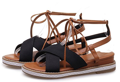 Open Comfy Wedge Aisun Women's Heels Black Toe Sandals afqxwzETx