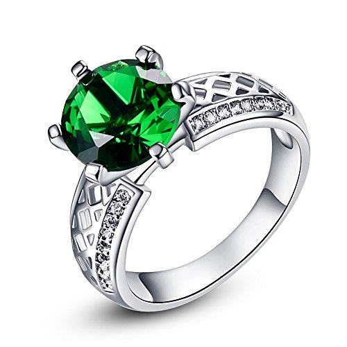Psiroy 925 Sterling Silver Created Emerald Quartz Filled Cocktail Solitaire Engagement (Date Quartz Ring)
