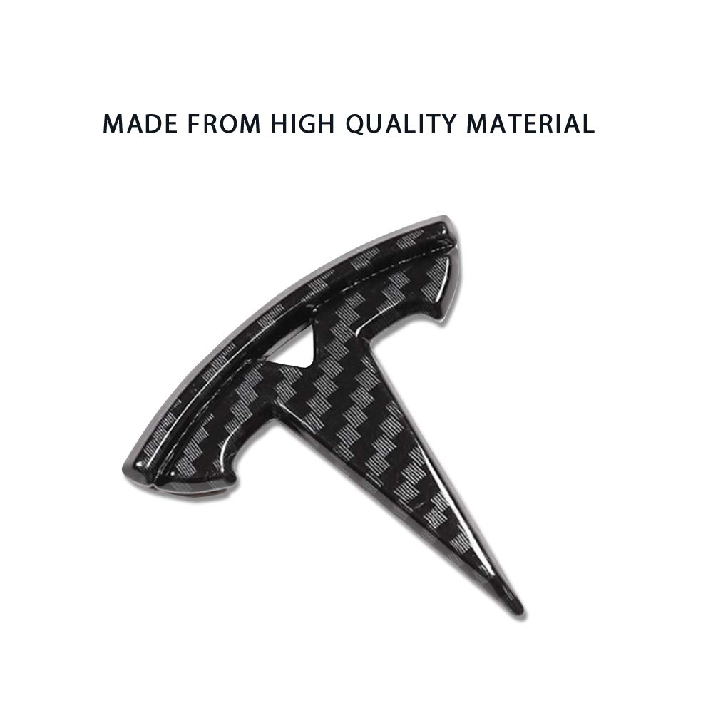 Coolko Personalized Modification Steering Wheel Label Logo Stickers for Model 3 Bright Carbon Fiber Pattern