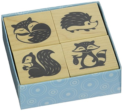 Inkadinkado Woodland Critters Mounted Rubber Stamp Set, 4 pc ()