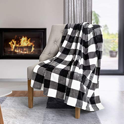 (Safdie & Co. Flannel Printed Ribbed 50x60 White Plaid Ultra Soft Throw, Black)